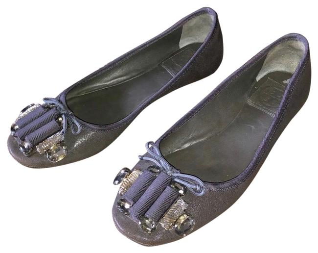 Item - Gray Jeweled Embellished Ballet Flats Size EU 37 (Approx. US 7) Regular (M, B)