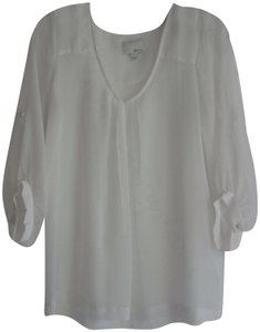 Greylin Chiffon Soft Fabric Pleated Front/Back Roll-up Sleeves Sheer V-neck Top White