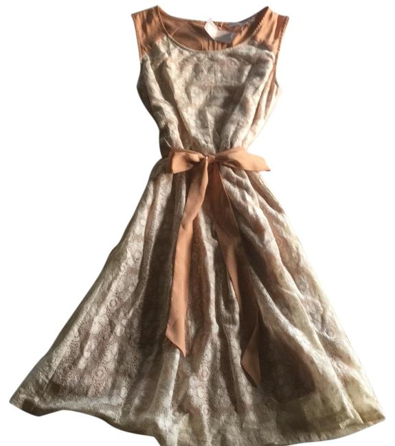 Item - Cream/Peach Lace Overlay with Ribbon Sash Mid-length Short Casual Dress Size 4 (S)