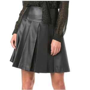 Michael Kors Mk Leather Pleated Skirt Black