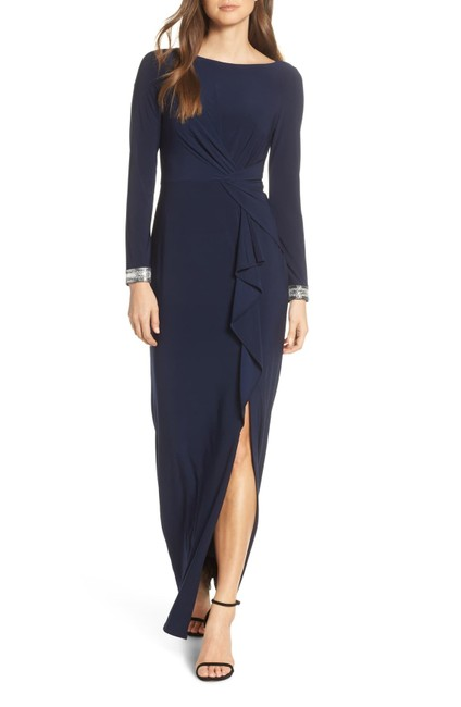 Item - Navy Jersey Knit Polyester Beaded Cuff Ruches Formal Bridesmaid/Mob Dress Size 10 (M)