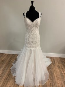 Sophia Tolli Ivory Tulle and Lace 21672 Traditional Wedding Dress Size 12 (L)