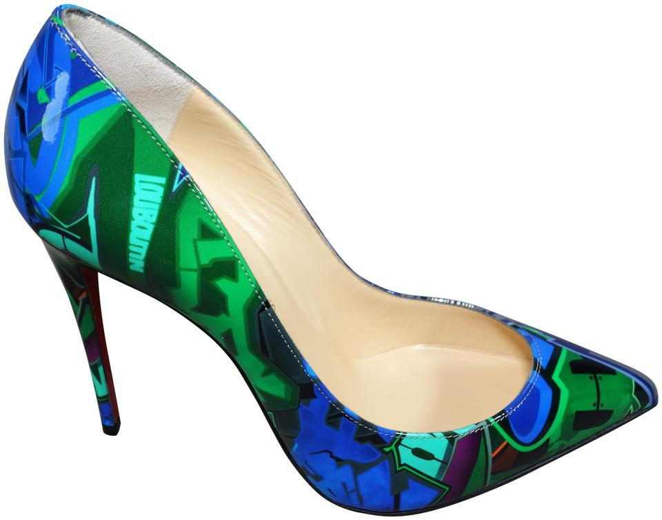 81b46999eb9 Christian Louboutin Multi Color - Green & Blue Graffiti Pigalle Follies  Patent Metrograf 100 New Taiga Heels Pumps Size EU 39 (Approx. US 9)  Regular ...