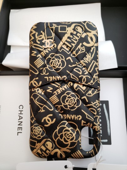 Chanel X, XS IPHONE, Phone Calfskin Leather Black & Gold Graphite Bumper Case Image 10