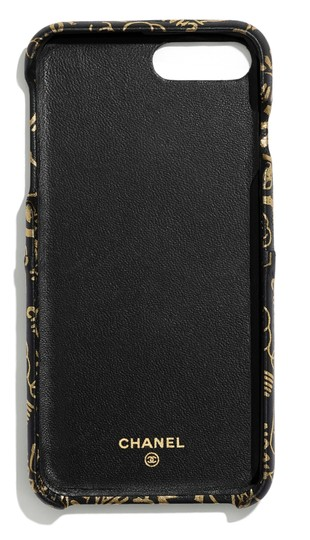 Chanel X, XS IPHONE, Phone Calfskin Leather Black & Gold Graphite Bumper Case Image 3