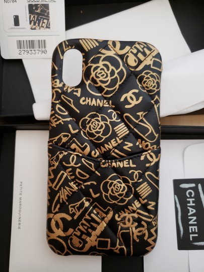 Chanel X, XS IPHONE, Phone Calfskin Leather Black & Gold Graphite Bumper Case Image 8