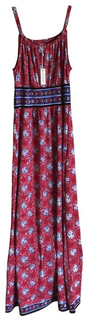 Item - Red Multicolored Floral Pattern 8903w69 Long Casual Maxi Dress Size 4 (S)