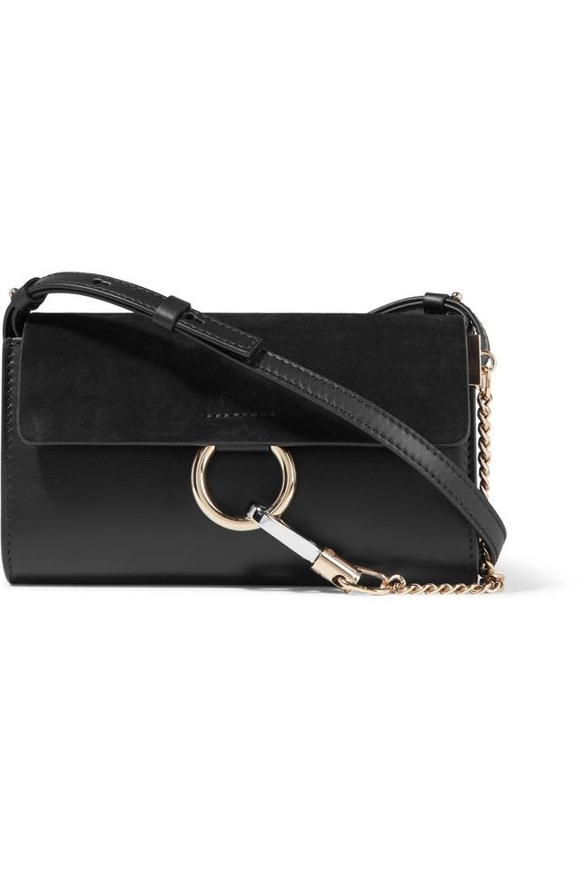 f422b1fafa Chloé Faye Mini Wallet On Strap Black Suede and Leather Cross Body Bag