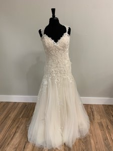 Maggie Sottero Light Gold Tulle and Lace 5mc661 Traditional Wedding Dress Size 12 (L)