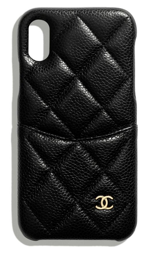 promo code 17e49 e5a40 Chanel Black XS X Iphone Phone Case Bumper Grained Leather Tech Accessory