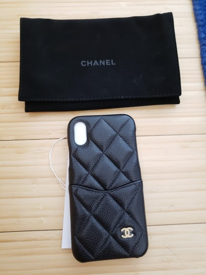 Chanel X, XS IPHONE, PHONE CASE bumper BLACK Grained LEATHER Image 10