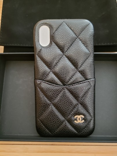 Chanel X, XS IPHONE, PHONE CASE bumper BLACK Grained LEATHER Image 11