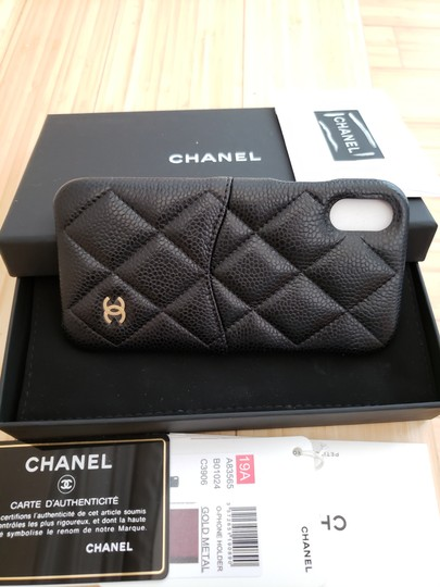 Chanel X, XS IPHONE, PHONE CASE bumper BLACK Grained LEATHER Image 4