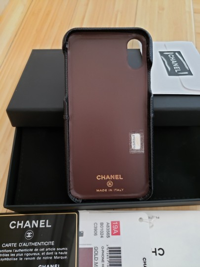 Chanel X, XS IPHONE, PHONE CASE bumper BLACK Grained LEATHER Image 5
