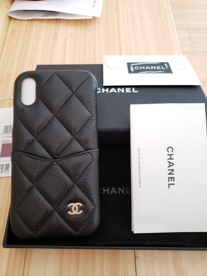 Chanel X, XS IPHONE, PHONE CASE bumper BLACK Grained LEATHER Image 6
