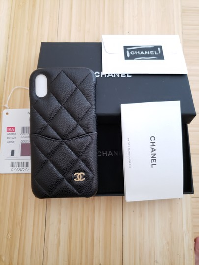 Chanel X, XS IPHONE, PHONE CASE bumper BLACK Grained LEATHER Image 8