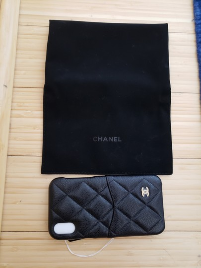 Chanel X, XS IPHONE, PHONE CASE bumper BLACK Grained LEATHER Image 9