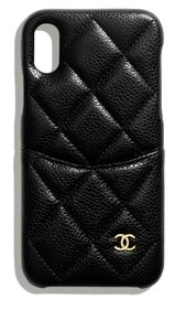 Chanel X or XS IPHONE, PHONE CASE bumper BLACK Grained LEATHER