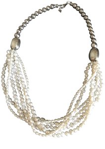 Silpada Silver bead Pearl Necklace N1565