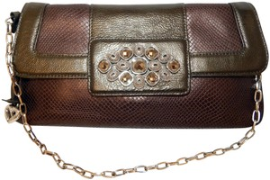 Brighton Leather Jeweled Clutch Chain Shoulder Bag