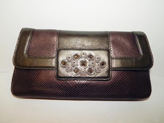 Brighton Leather Jeweled Clutch Chain Shoulder Bag Image 3