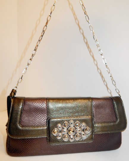 Brighton Leather Jeweled Clutch Chain Shoulder Bag Image 7