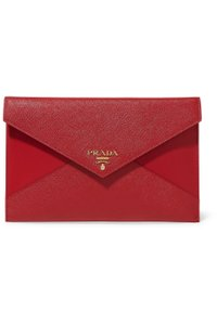 Prada Pouch Leather Red Clutch