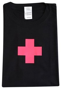 Gildan Ultra Cotton Crew Neck Sleeve Pink Cross T Shirt Black