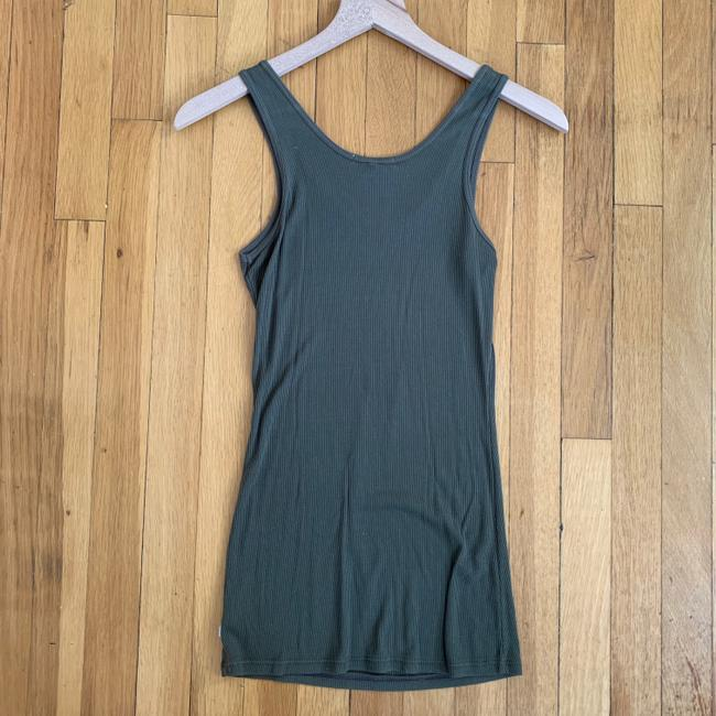 James Perse Lycra Ribbed Sleeveless Top Olive Green Image 2