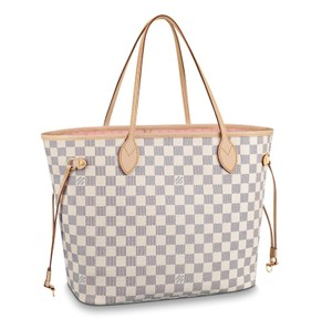 Louis Vuitton Neverfull Mm New With Tags Monogram Tote in Damier Azur Rose Ballerine