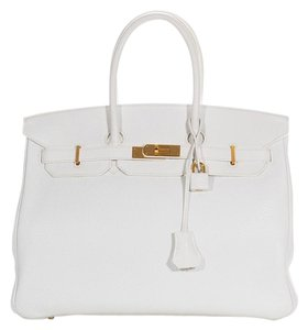 Hermès Leather Pebbled Gold Hardware Satchel in White