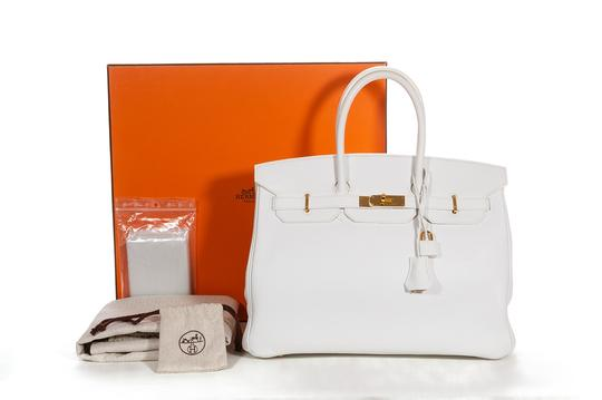 Hermès Leather Pebbled Gold Hardware Satchel in White Image 1