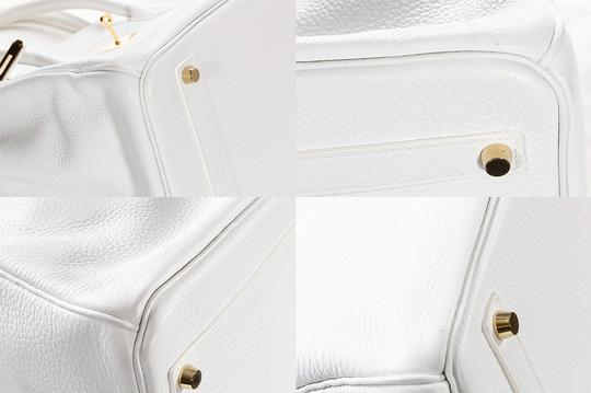 Hermès Leather Pebbled Gold Hardware Satchel in White Image 10