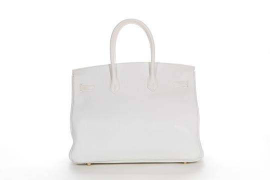 Hermès Leather Pebbled Gold Hardware Satchel in White Image 2