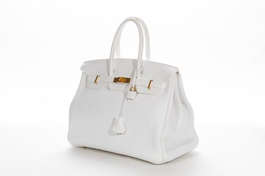 Hermès Leather Pebbled Gold Hardware Satchel in White Image 3