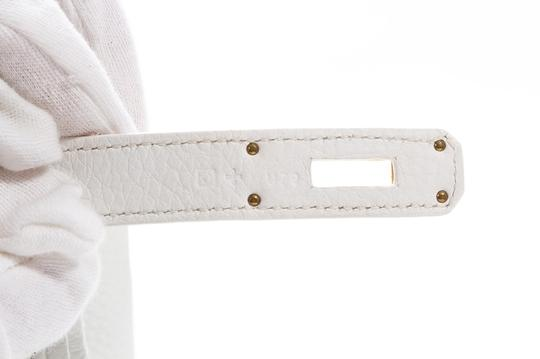 Hermès Leather Pebbled Gold Hardware Satchel in White Image 7