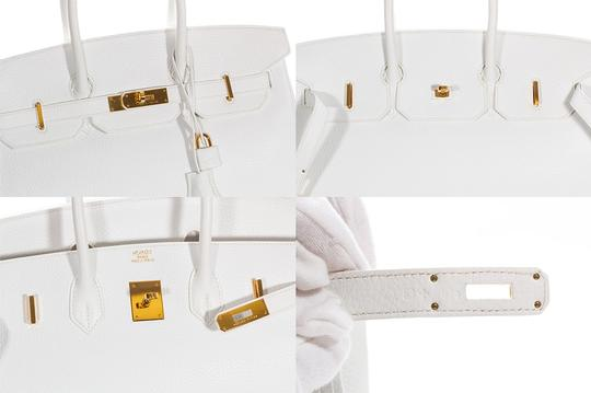 Hermès Leather Pebbled Gold Hardware Satchel in White Image 8