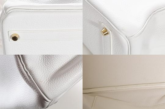 Hermès Leather Pebbled Gold Hardware Satchel in White Image 9