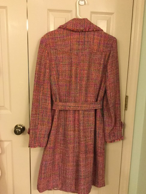 Ice Colorful Tweed Lightweight Blend Trench Coat Image 3
