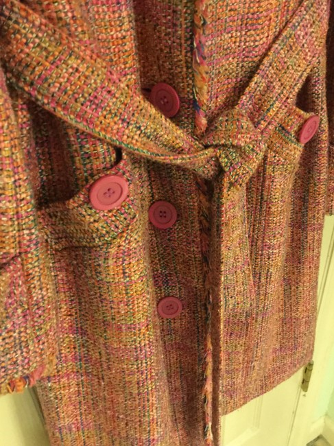 Ice Colorful Tweed Lightweight Blend Trench Coat Image 4