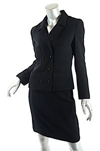 Chanel CHANEL Black Wool Blend Boucle DB Jacket and Skirt SUIT C98A