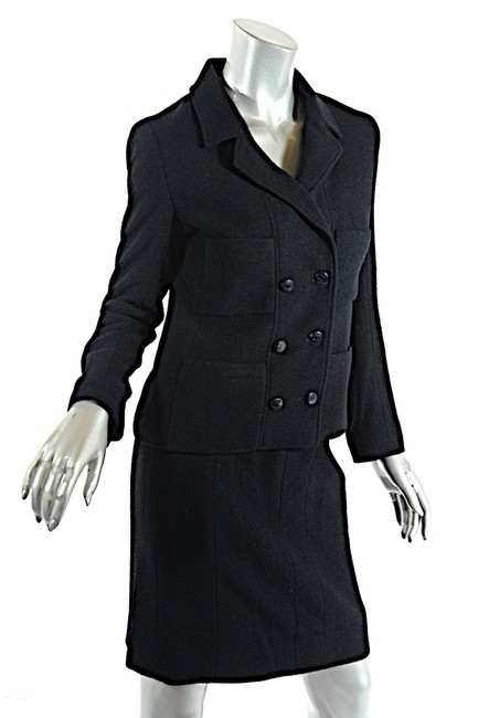 Chanel CHANEL Black Wool Blend Boucle DB Jacket and Skirt SUIT C98A Image 1