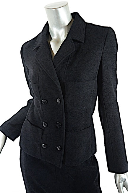 Chanel CHANEL Black Wool Blend Boucle DB Jacket and Skirt SUIT C98A Image 6