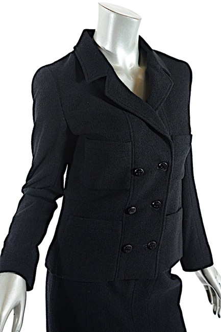 Chanel CHANEL Black Wool Blend Boucle DB Jacket and Skirt SUIT C98A Image 7