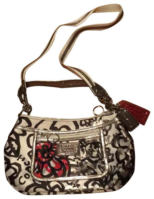 Item - Graffiti Poppy Floral Black Red Pink White Silver Satin Cross Body Bag