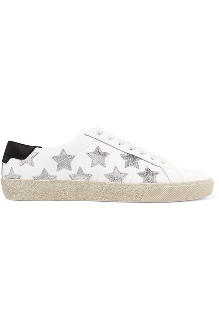 Saint Laurent White Court Classic Metallic California Leather Sneakers Size EU 37.5 (Approx. US 7.5) Regular (M, B) Saint Laurent White Court Classic Metallic California Leather Sneakers Size EU 37.5 (Approx. US 7.5) Regular (M, B) Image 1