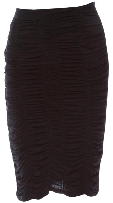 Item - Black Gathered Ruched Wiggle Skirt Size 4 (S, 27)