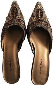 Amanda Smith Beaded Sequin Pointy Toe Brown Mules