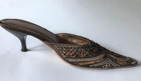Amanda Smith Beaded Sequin Pointy Toe Brown Mules Image 1