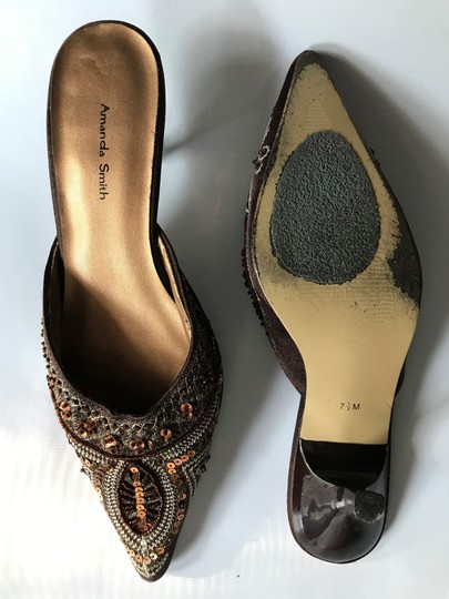 Amanda Smith Beaded Sequin Pointy Toe Brown Mules Image 3